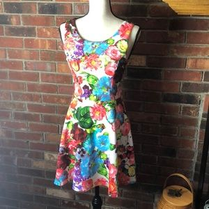 Super cute floral tank skater dress